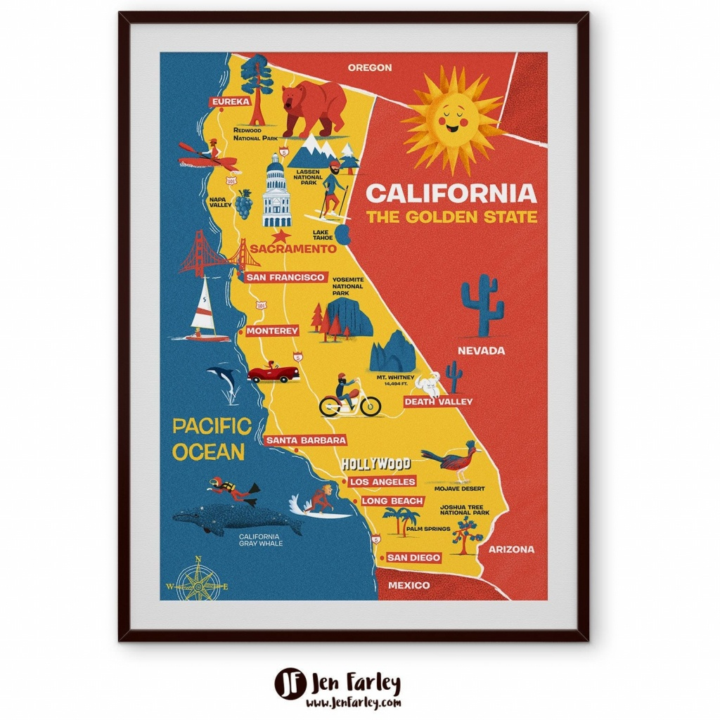 Illustrated Map Of California Cute Golden State Map Kids   Etsy - Illustrated Map Of California