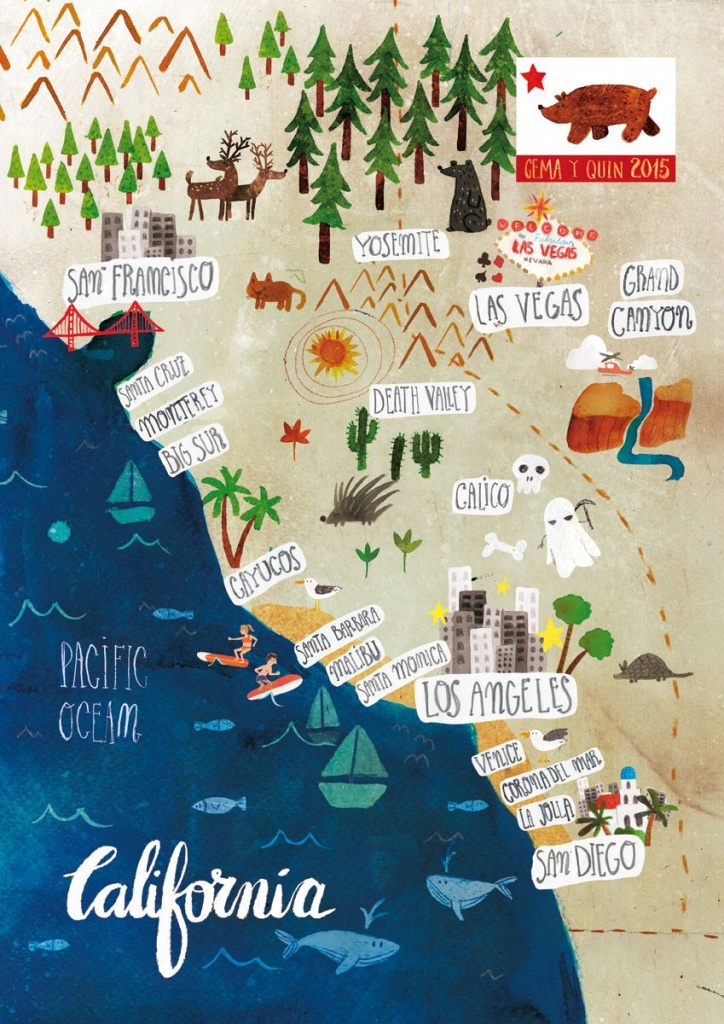 Illustrated Map Of California On Behance   Maps   Mapas De Viaje - Illustrated Map Of California