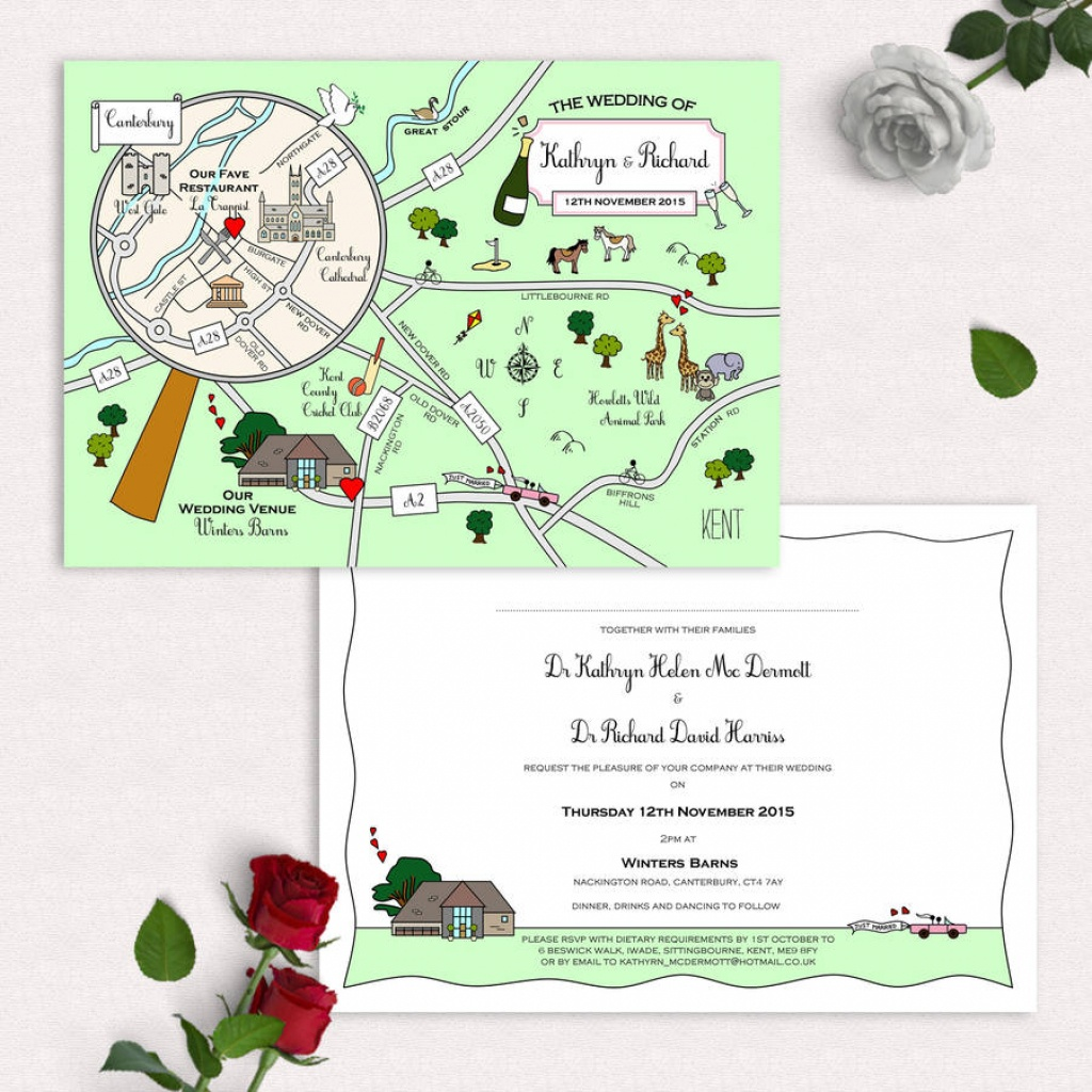Illustrated Map Party Or Wedding Invitation - Printable Maps For Wedding Invitations Free