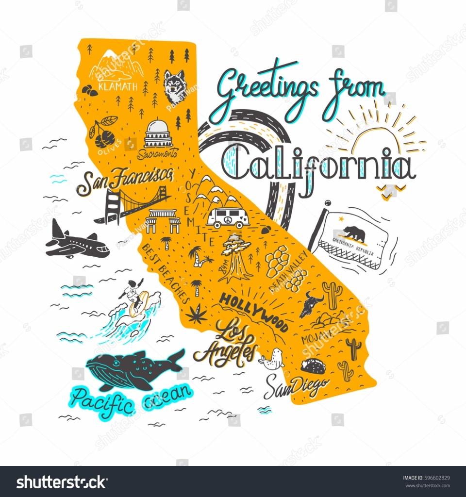 Image Vectorielle De Stock De Hand Drawn Illustration California Map - California Tourist Attractions Map