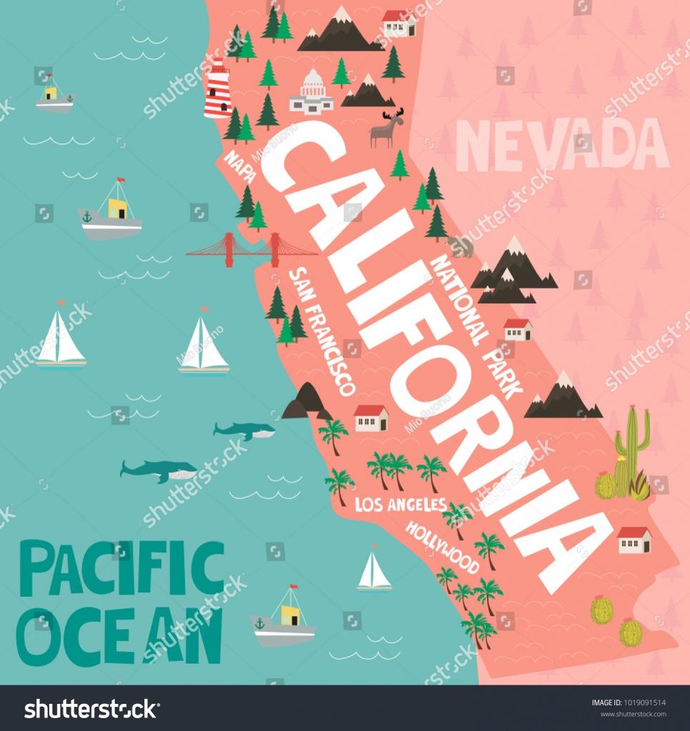 Image Vectorielle De Stock De Illustrated Map State California - Illustrated Map Of California