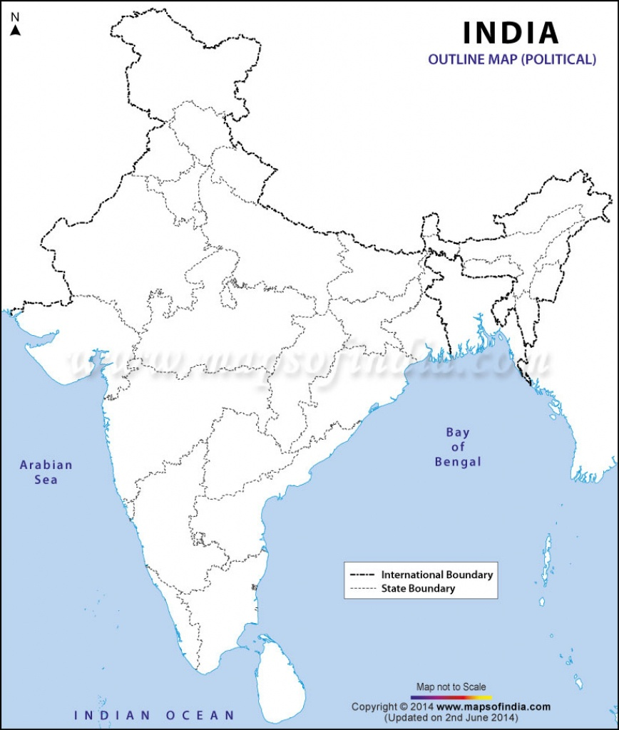 India Political Map In A4 Size - Physical Map Of India Blank Printable