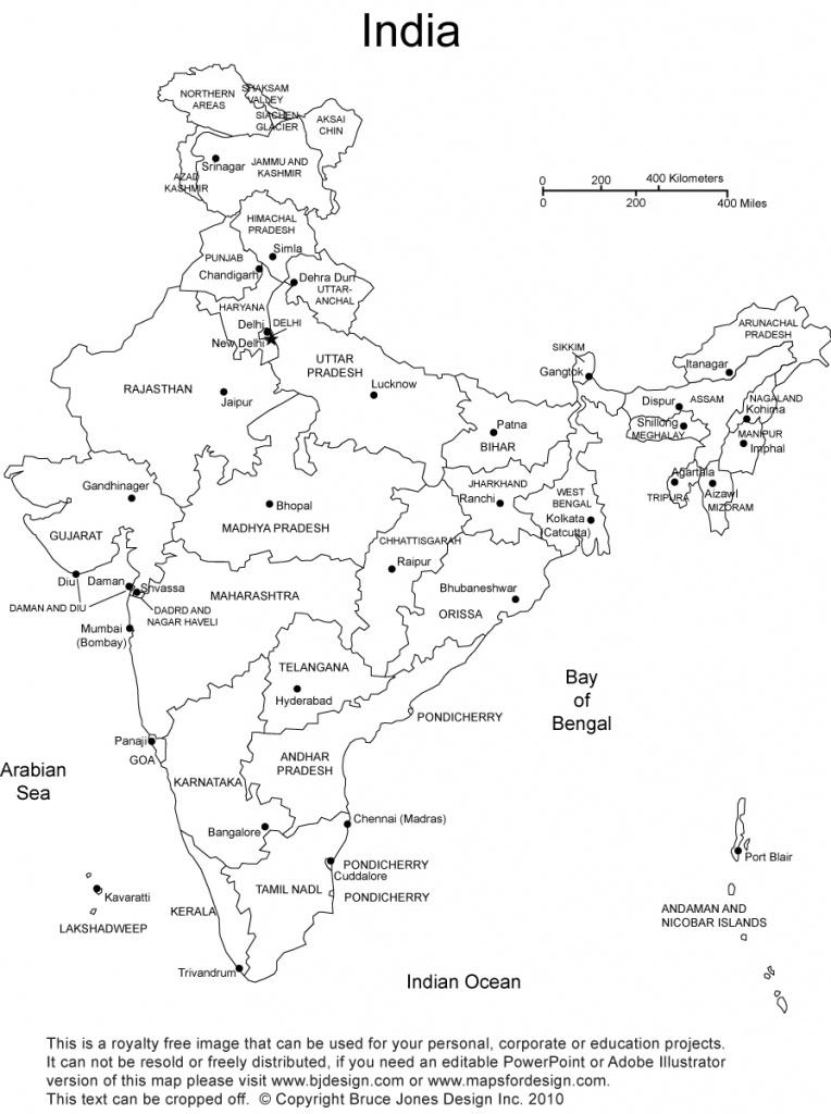 India Printable, Blank Maps, Outline Maps • Royalty Free - India Outline Map A4 Size Printable