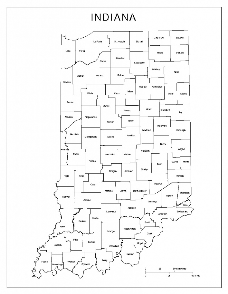 Indiana Labeled Map - Pa County Map Printable