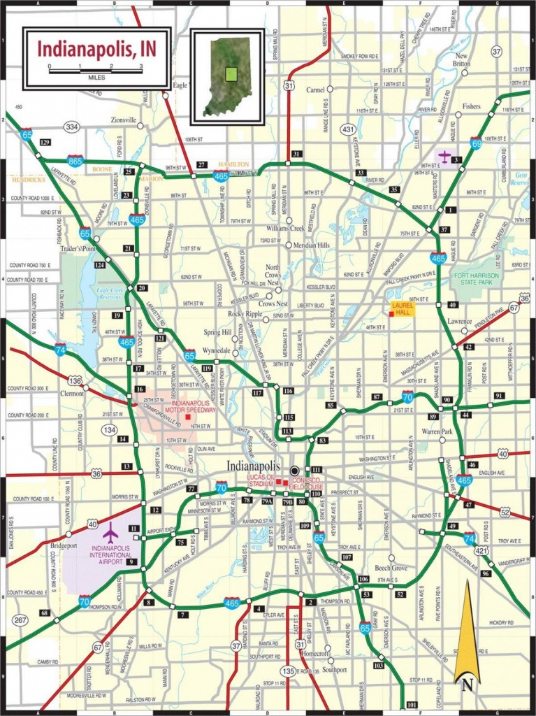 Indianapolis Road Map - Road Map Of Indianapolis (Indiana - Usa) - Printable Map Of Indianapolis