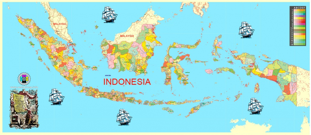 Indonesia Map Printable Admin 01 Exact Vector Map Full Editable - Printable Map Of Indonesia