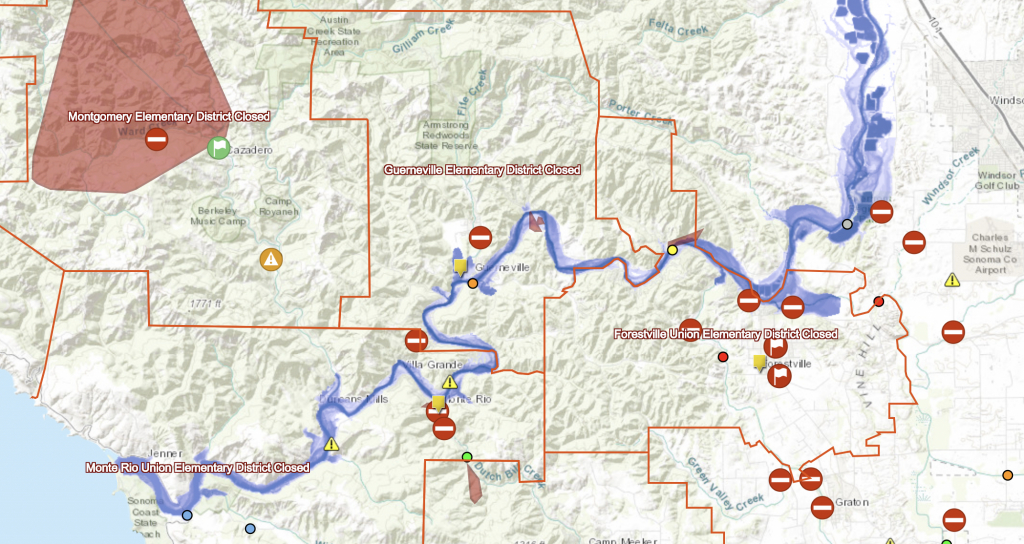 Interactive Flood Map Of Russian River Identifies River Levels, Road - Russian River California Map