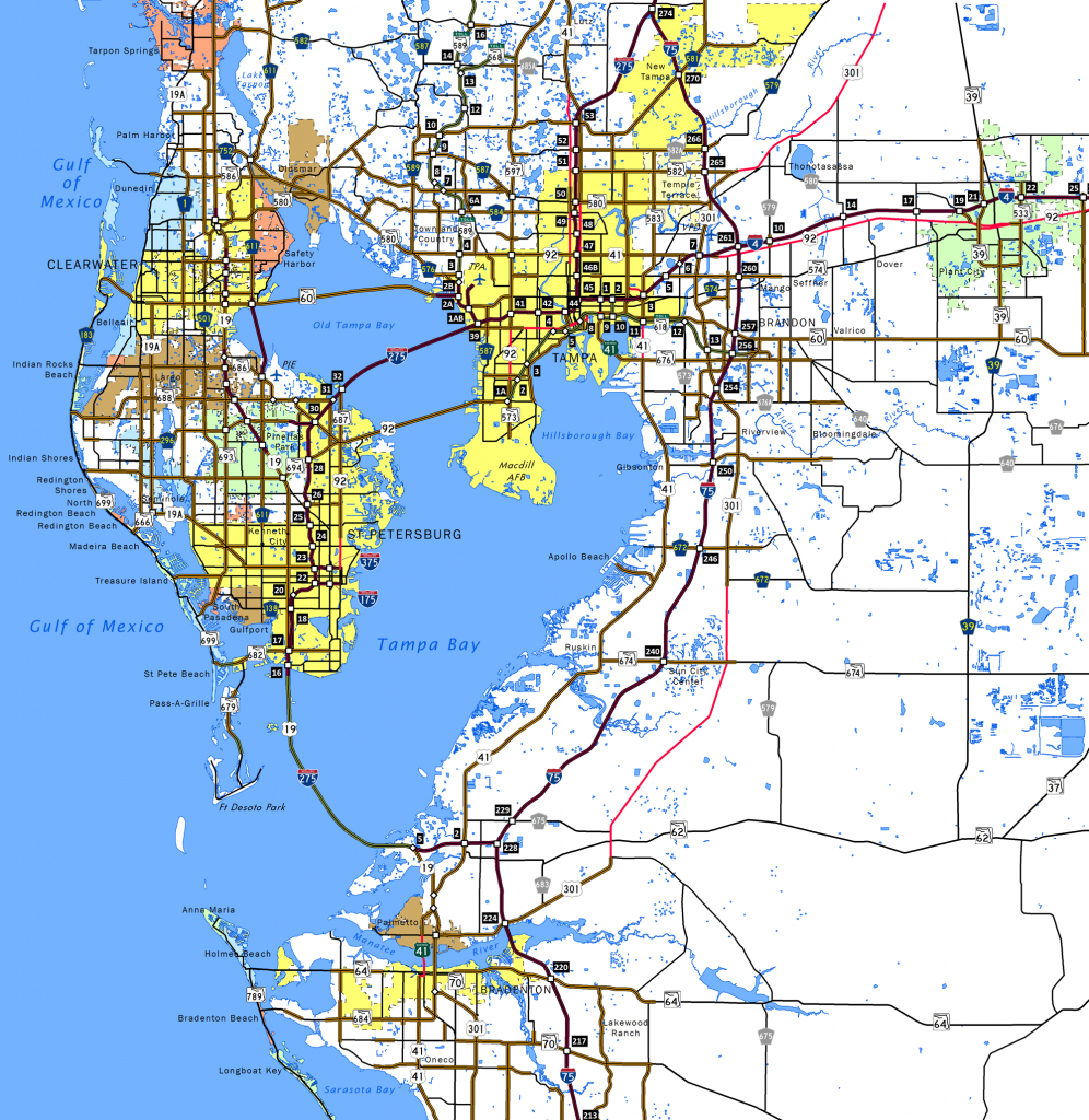Interstate 275 Florida - Interstate-Guide - Map Of Florida Showing Tampa And Clearwater