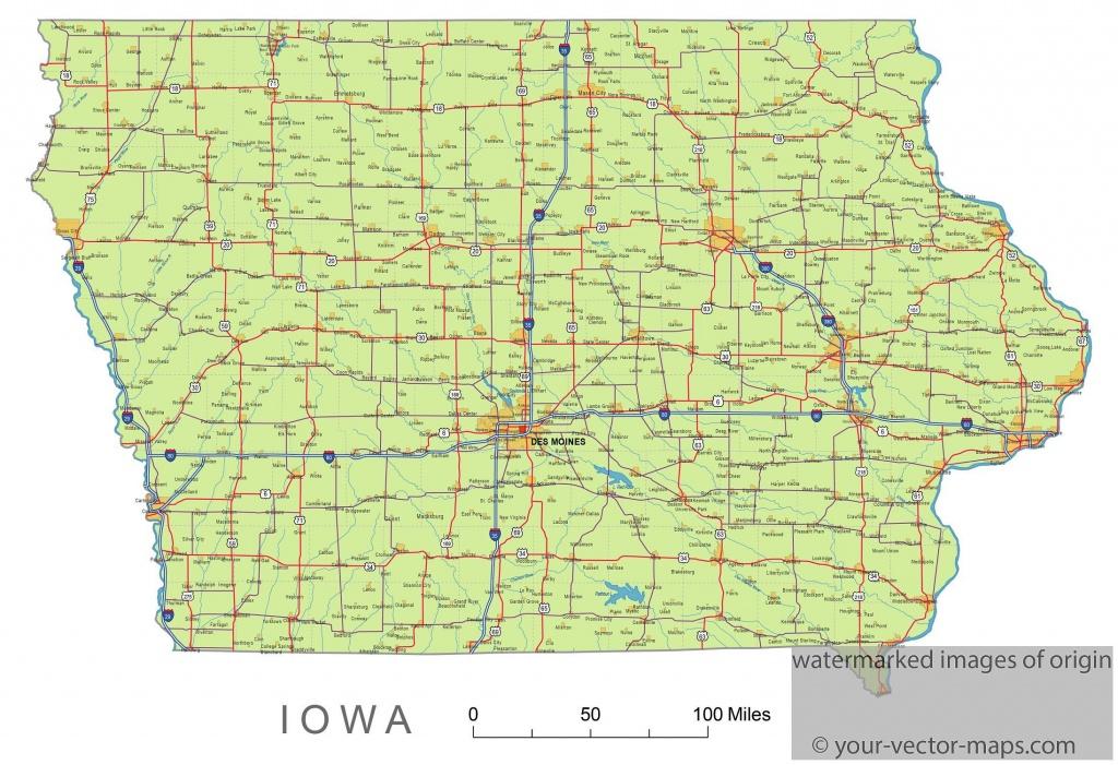Iowa State Route Network Map. Iowa Highways Map. Cities Of Iowa - Printable Iowa Road Map