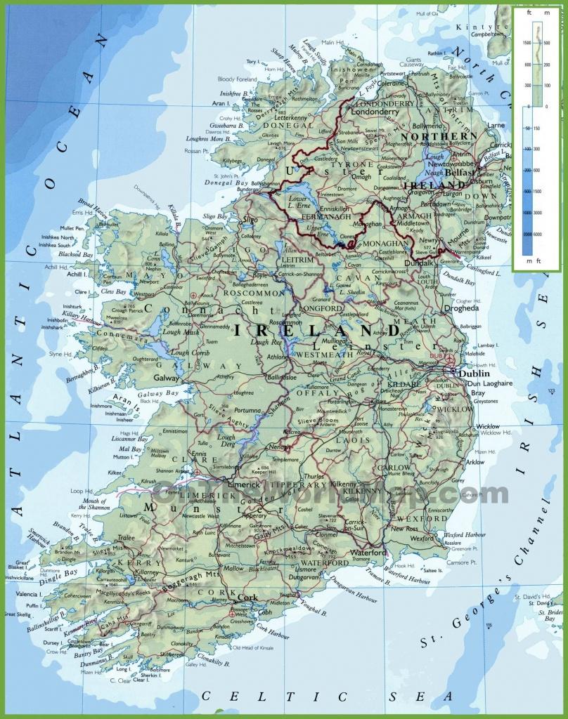 Ireland Physical Map - Large Printable Map Of Ireland