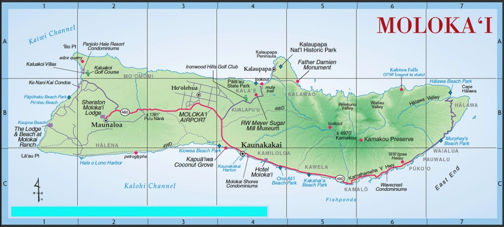 Island Maps | Kihei Resort Home Owners Association Website - Molokai Map Printable