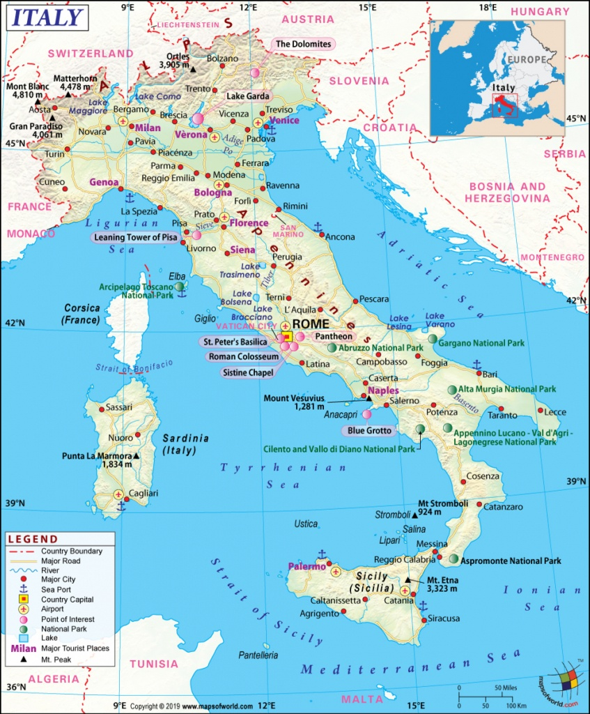 Italy Map, Map Of Italy, History And Intreseting Facts Of Italy - Large Map Of Italy Printable