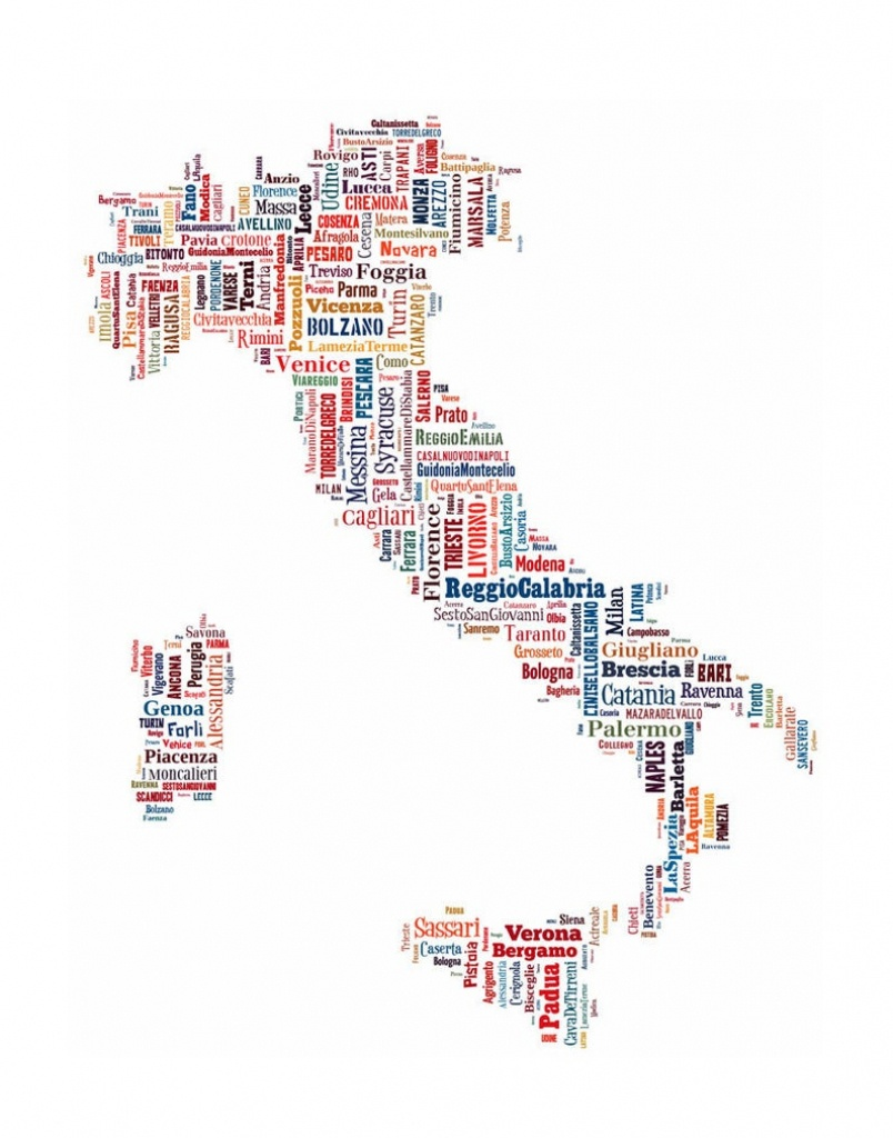 Italy Map Typography Map Poster Print Text Map Tyographical | Etsy - Printable Map Of Italy To Color