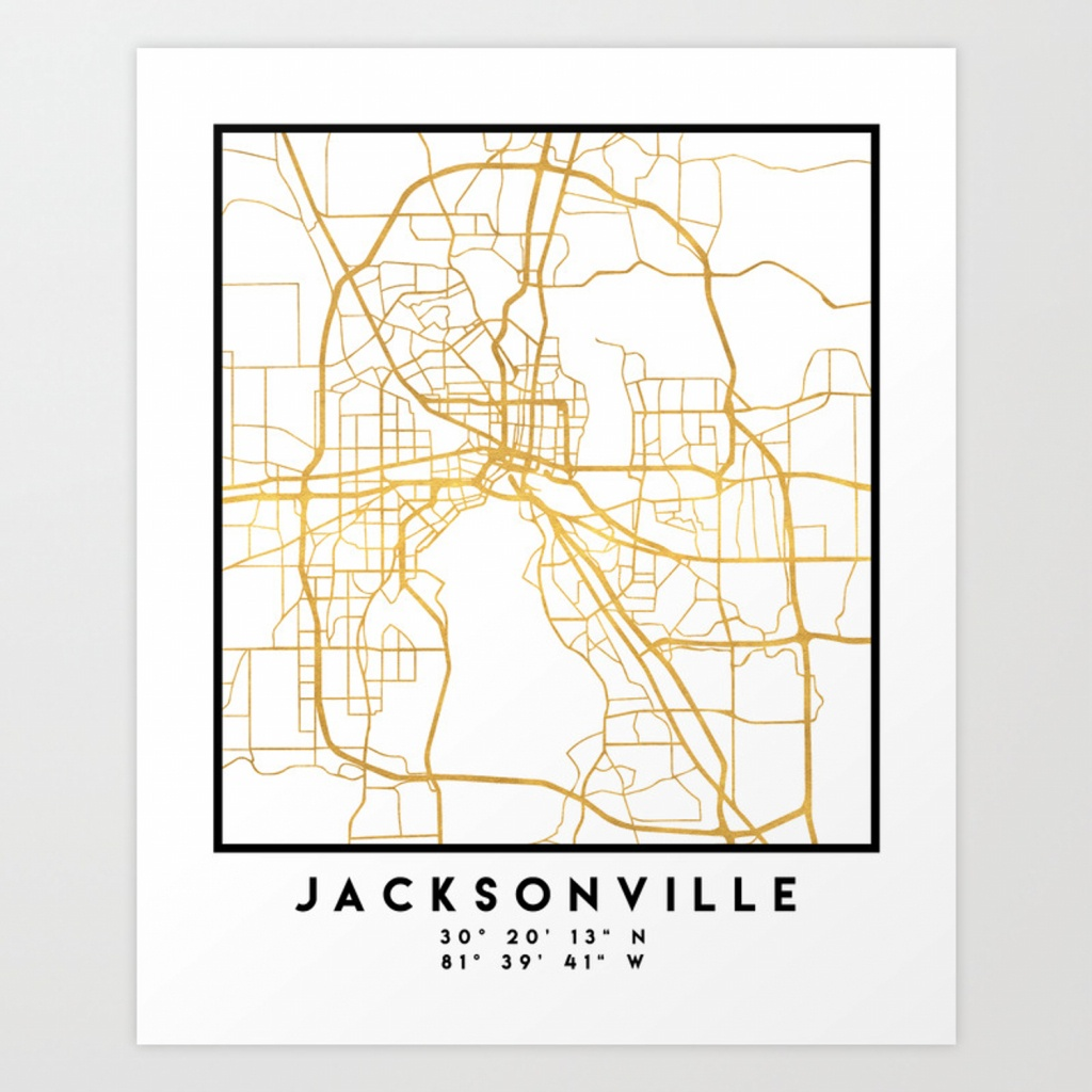 Jacksonville Florida Street Map Art Art Print - Florida Street Map