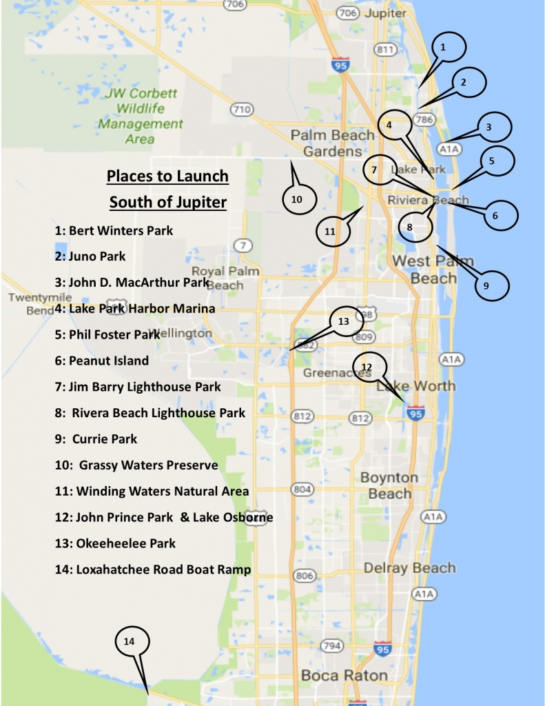 John Curtin Home Inspector - Where To Kayak And Paddle Board Around - Jupiter Beach Florida Map