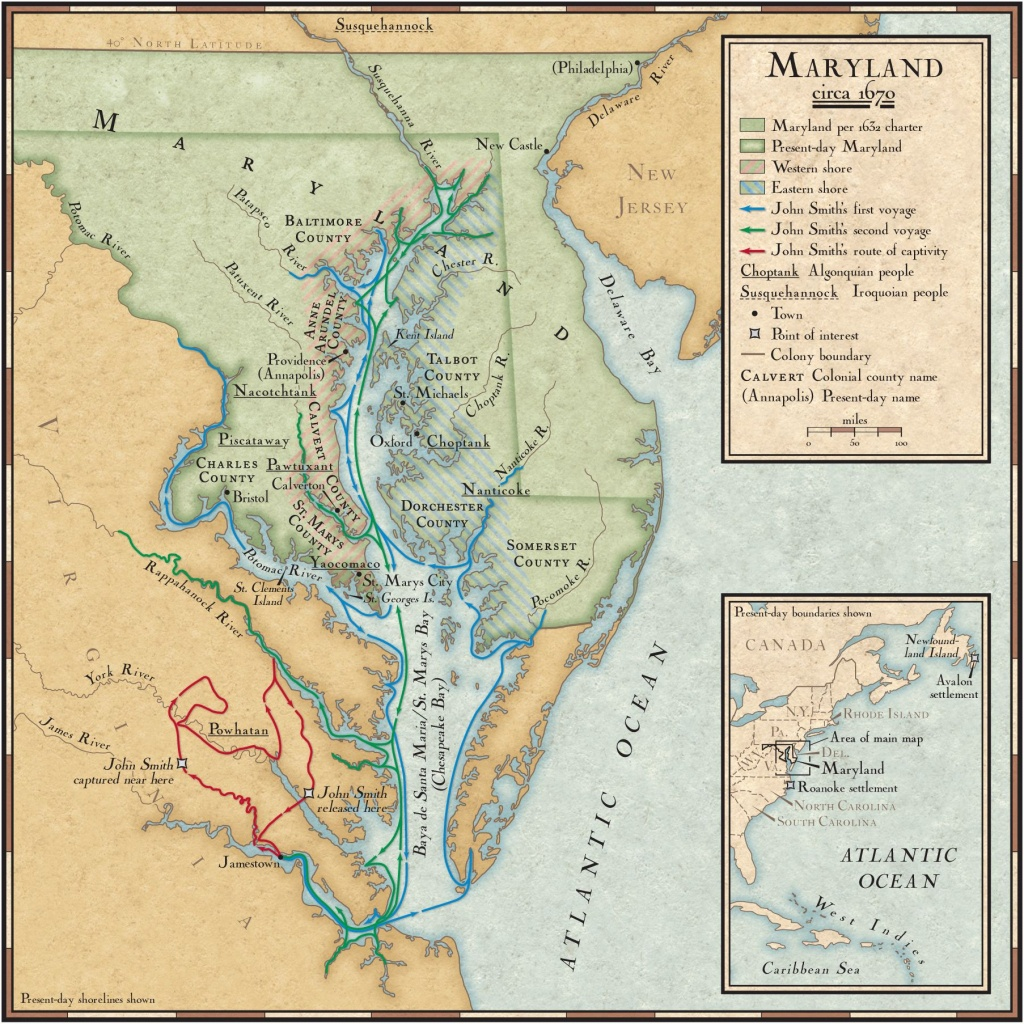John Smith's Exploration Routes In The Chesapeake Bay | National - Printable Map Of Chesapeake Bay