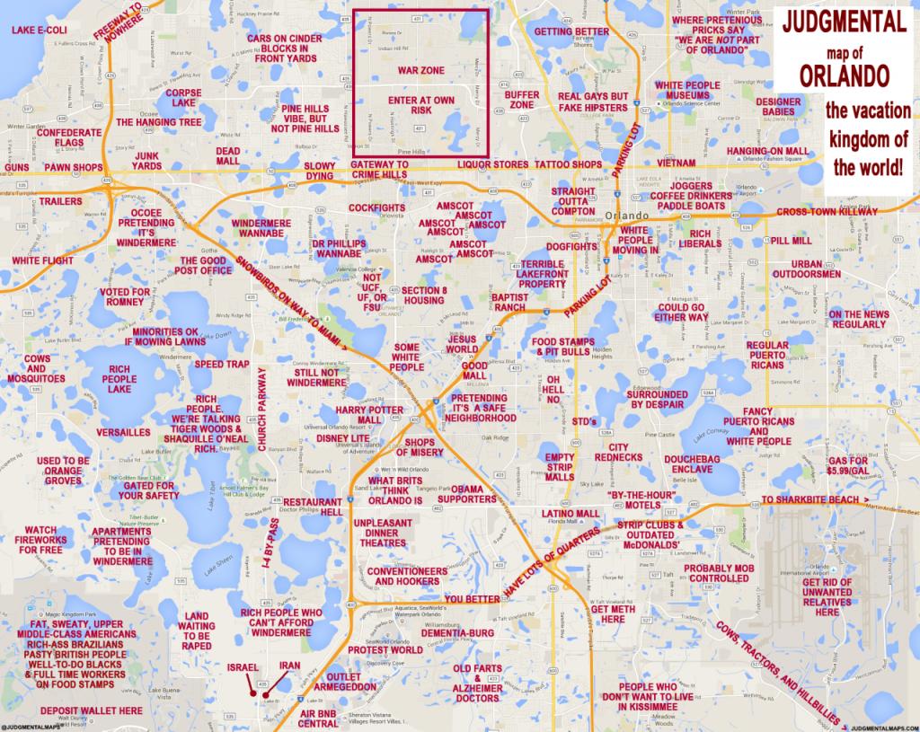 Judgmental Maps — Orlando, Florlando Truth Copr. 2016 Orlando - Detailed Map Of Orlando Florida