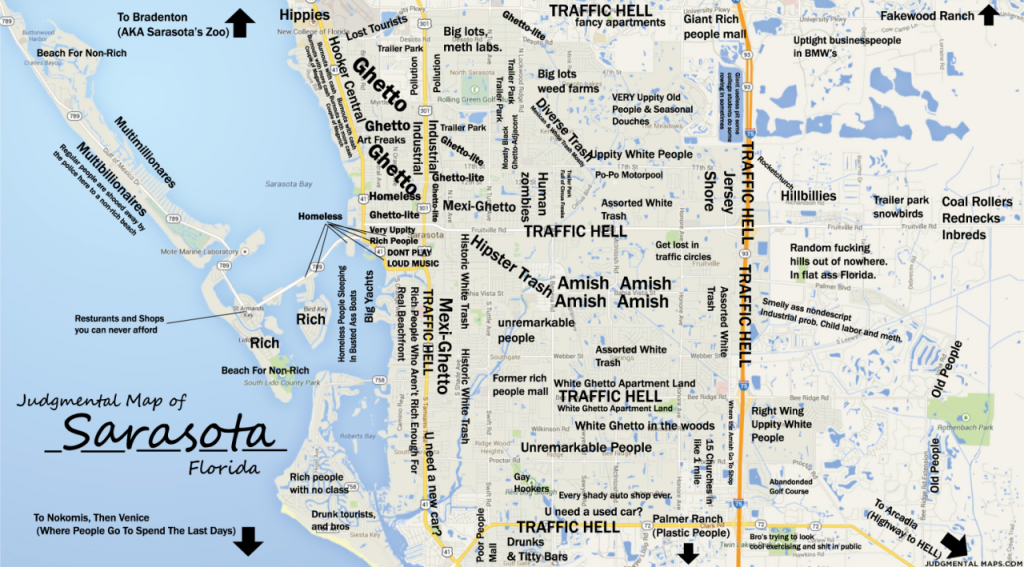 Judgmental Maps — Sarasota, Fltony Copr. 2014 Tony. All Rights - Map Sarasota Florida Usa