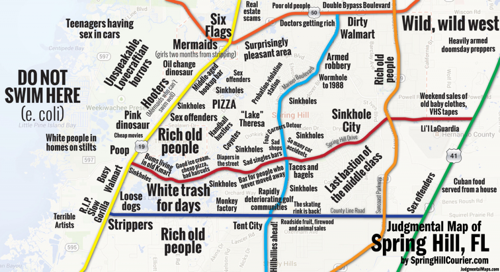 Judgmental Maps — Spring Hill, Flspring Hill Courier Copr. 2014 - Map Showing Spring Hill Florida