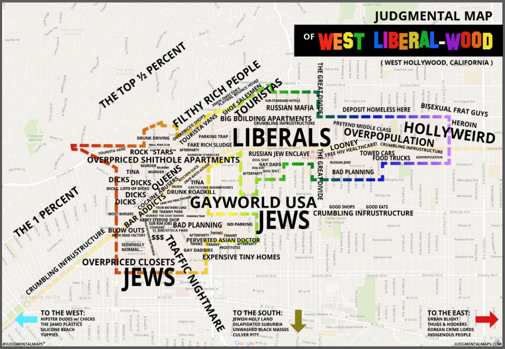 Judgmental Maps — West Hollywood, Caanonymous Copr. 2015 - Map Of West Hollywood California