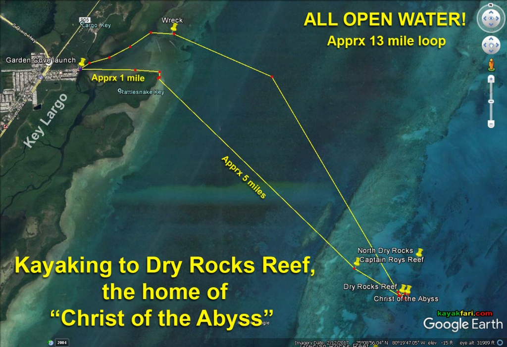 """Kayaking To Dry Rocks Reef – A Pilgrimage To Find The """"Christ Of The - Florida Keys Snorkeling Map"""
