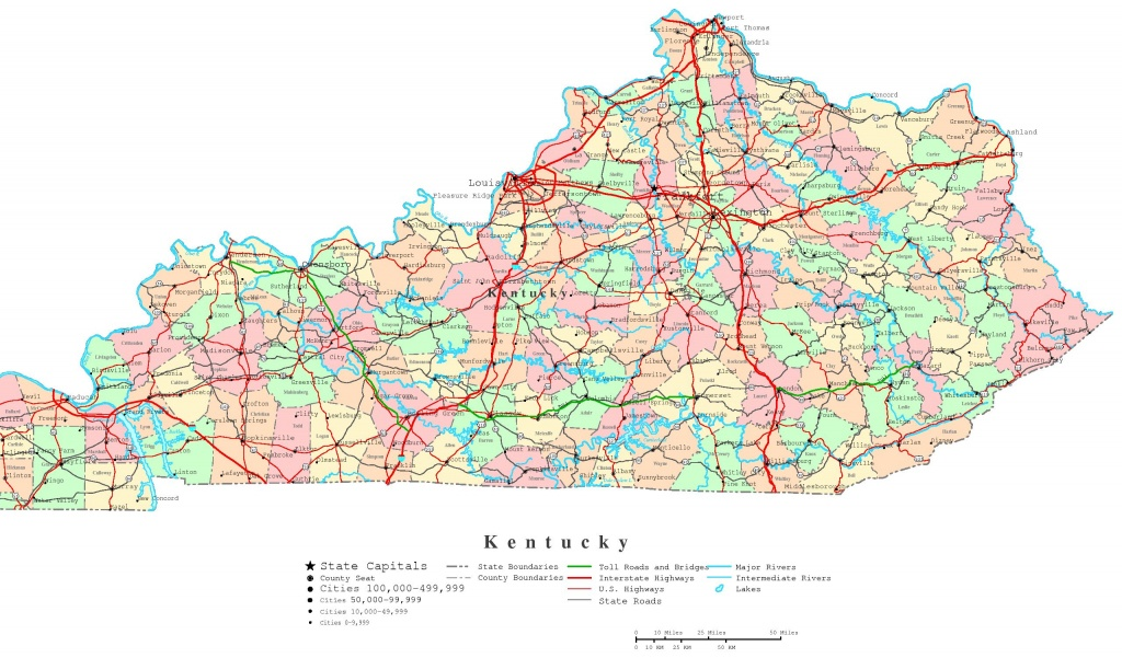 Kentucky Printable Map - Printable Map Of Kentucky Counties