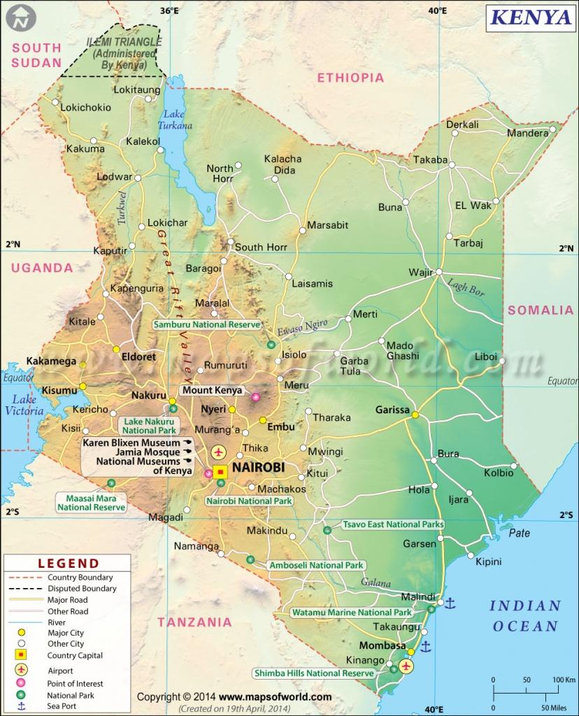 Kenya Map   Map Of Kenya - Printable Map Of Kenya
