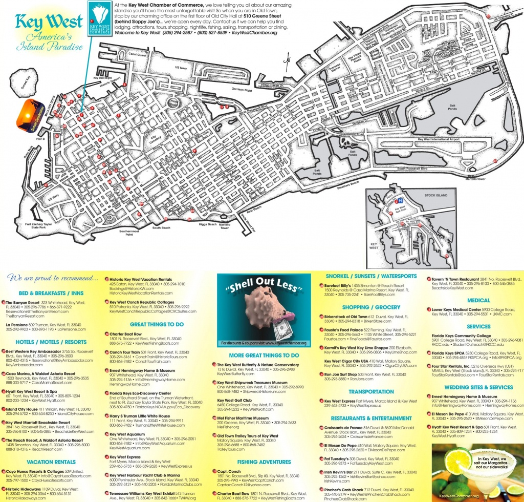 Key West Hotels And Sightseeings Map - Map Of Hotels In Key West Florida