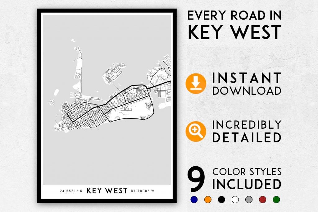 Key West Map Print Key West Print Florida Keys Map Key West | Etsy - Key West Street Map Printable