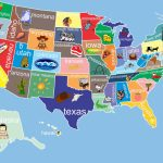 Kids United States Map 12 X 18 Classroom Art. $24.00, Via Etsy   Printable State Maps For Kids