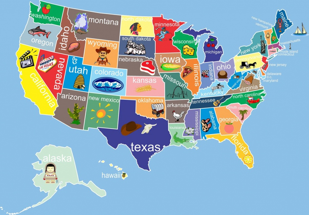 Kids United States Map 12 X 18 Classroom Art. $24.00, Via Etsy - Printable State Maps For Kids