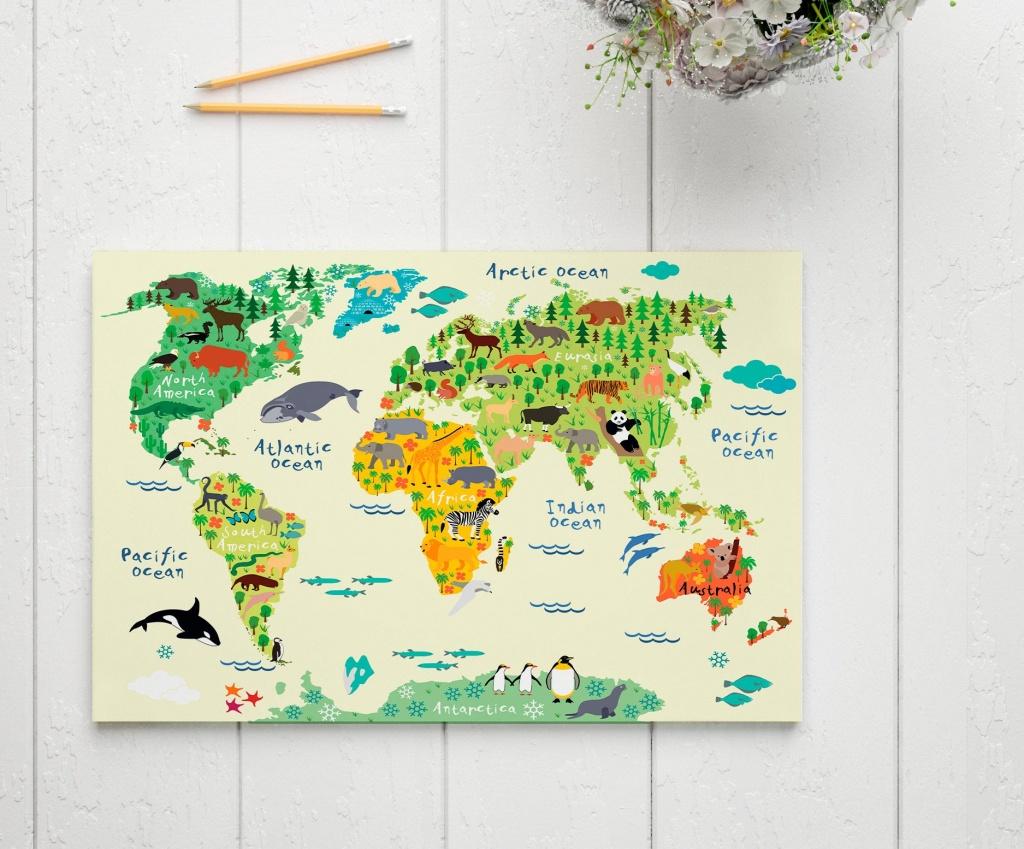 Kids World Map Print Nursery World Map Art World Map Animal | Etsy - Kid Friendly World Map Printable