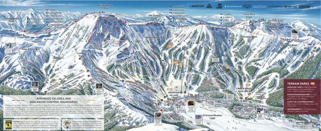 Kirkwood Piste Map / Trail Map - Kirkwood California Map