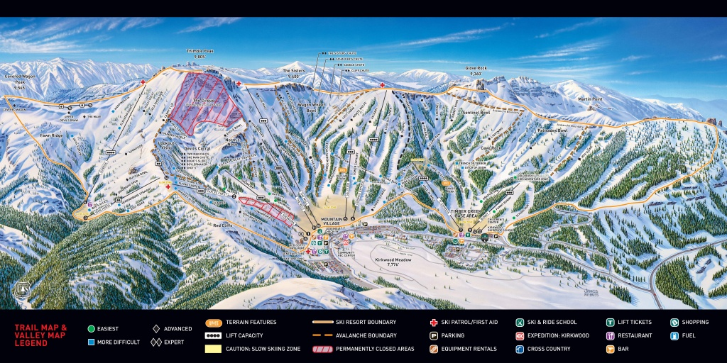 Kirkwood Piste Maps - Kirkwood California Map