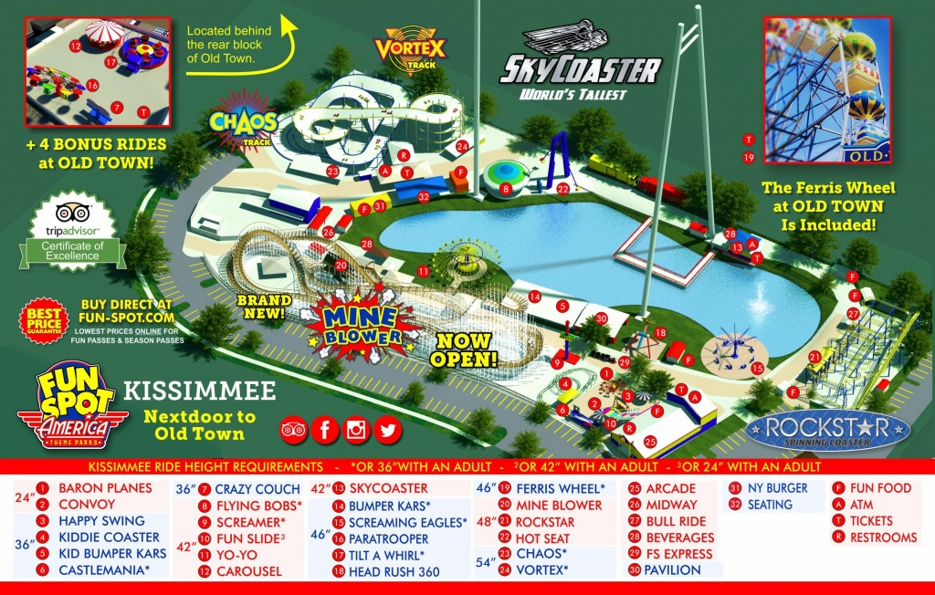 Kissimmee Theme Park Map   Fun Spot Kissimmee Map - Map Of Theme Parks In Florida