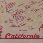 Kitschy Vintage California State Map Tablecloth, California Souvenir   Vintage California Map Tablecloth