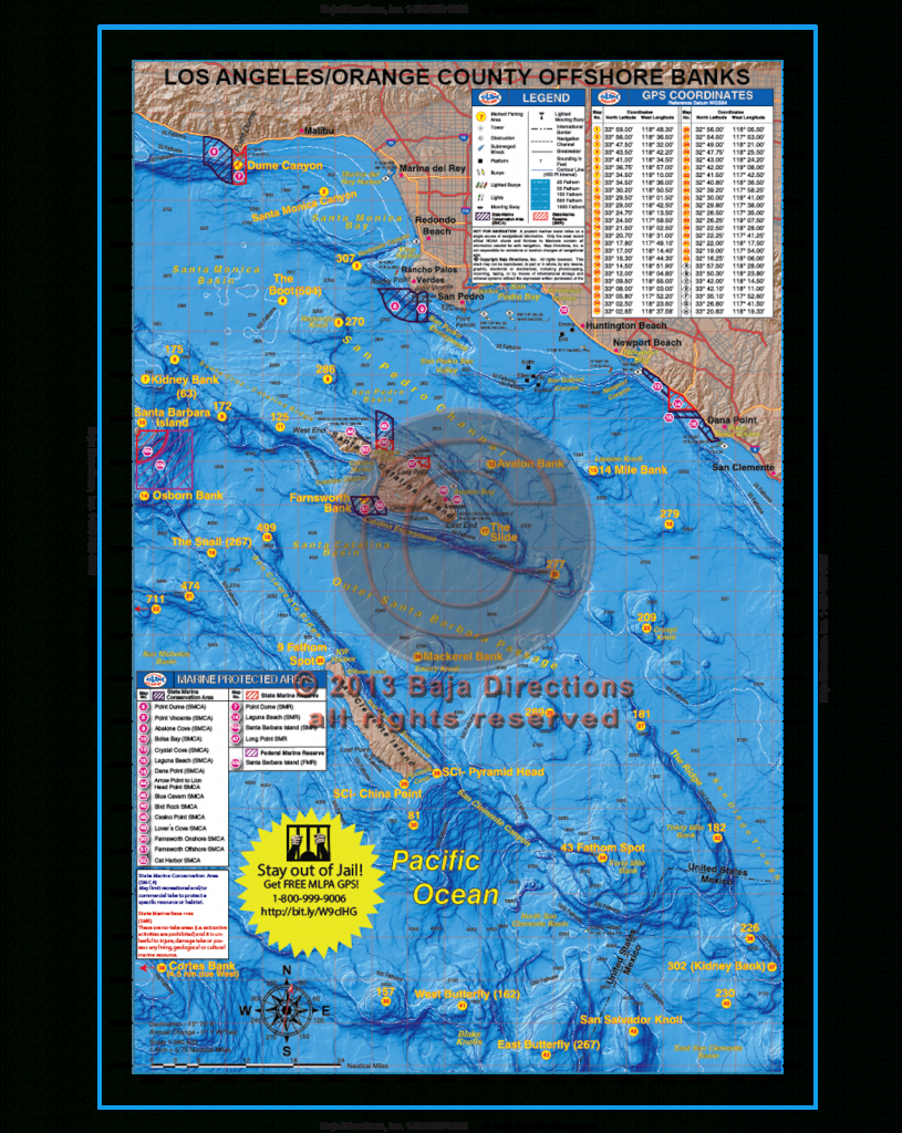 La / Orange County Offshore Banks - Baja Directions - California Ocean Fishing Map