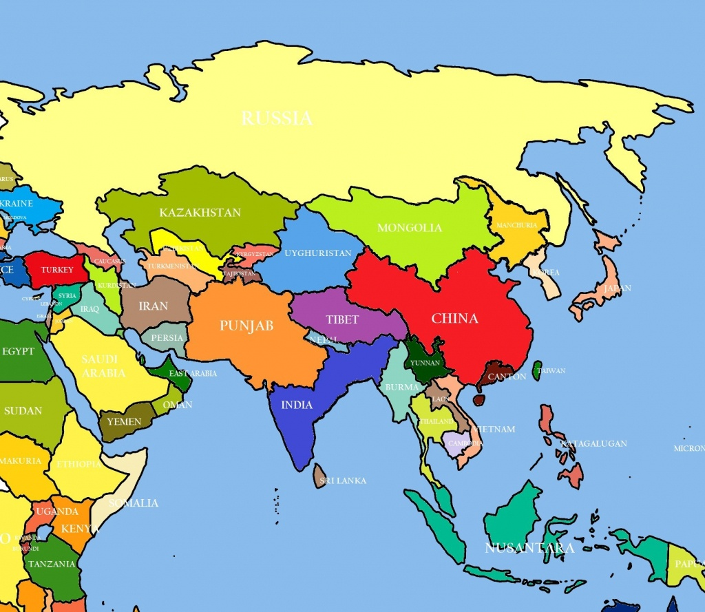 Labeled Map Of Asia Printable | D1Softball - Printable Map Of Asia