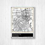 Lafayette Louisiana Street Map Print, Lafayette City Map Poster   Printable Map Of Lafayette La
