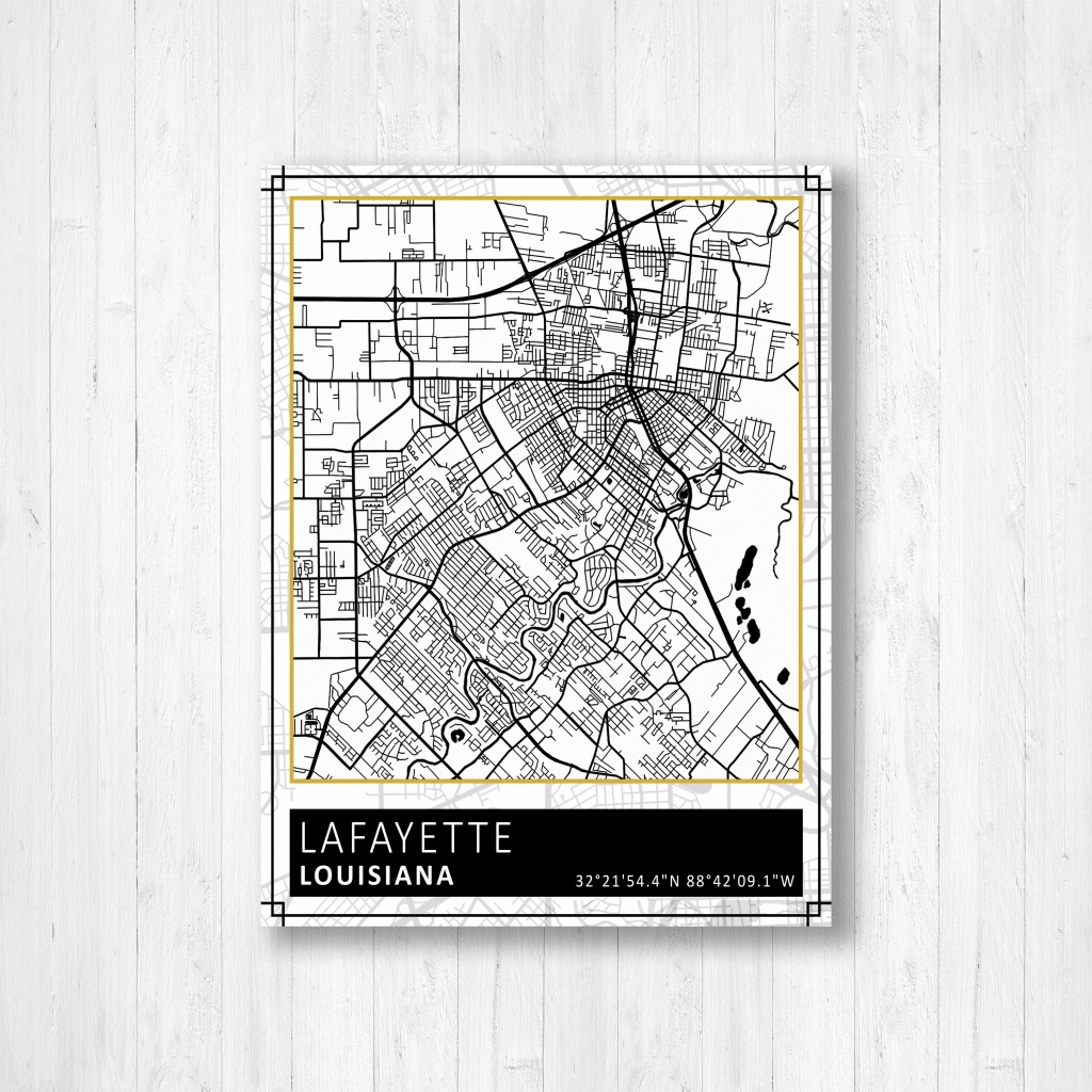 Lafayette Louisiana Street Map Print, Lafayette City Map Poster - Printable Map Of Lafayette La