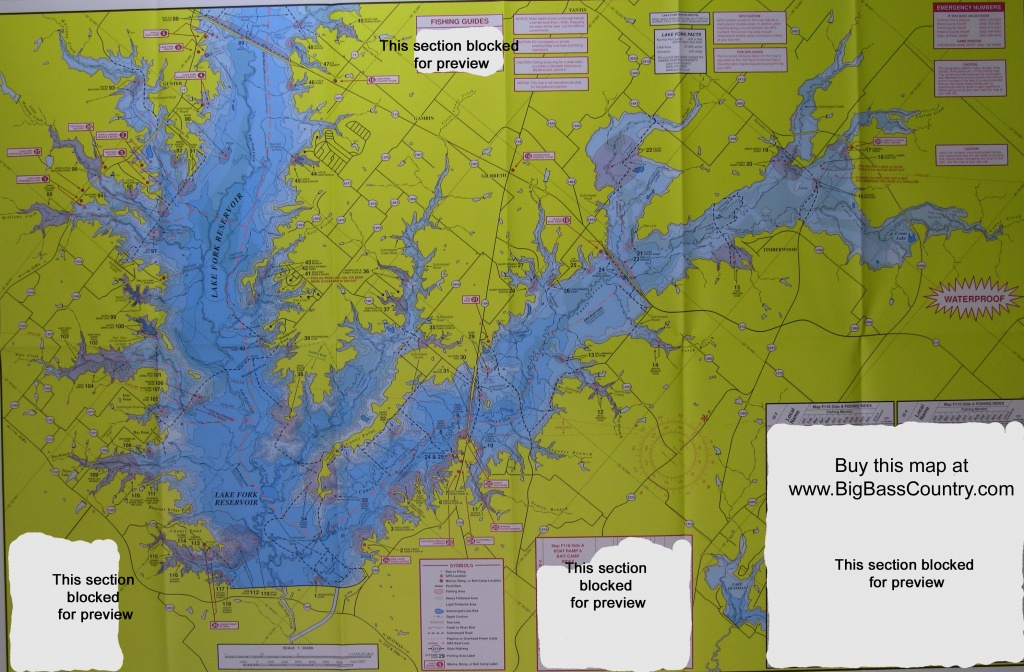 Lake Fork Fishing Topographical Map - Texas Lake Maps Fishing