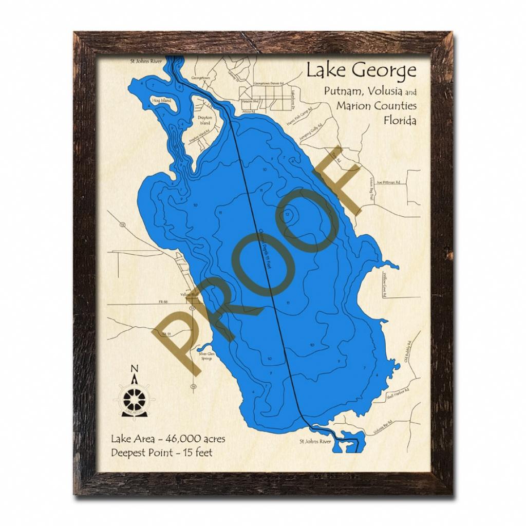 Lake George, Fl Wood Map   3D Topographic Wood Chart - Lake George Florida Map