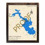 Lake Livingston, Texas 3D Wooden Map | Framed Topographic Wood Chart   Map Of Lake Livingston Texas