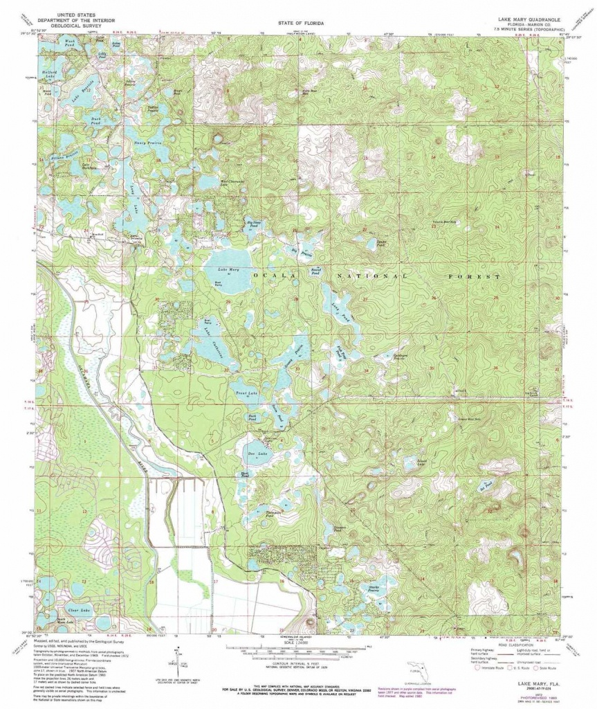 Lake Mary Topographic Map, Fl - Usgs Topo Quad 29081A7 - Lake Mary Florida Map