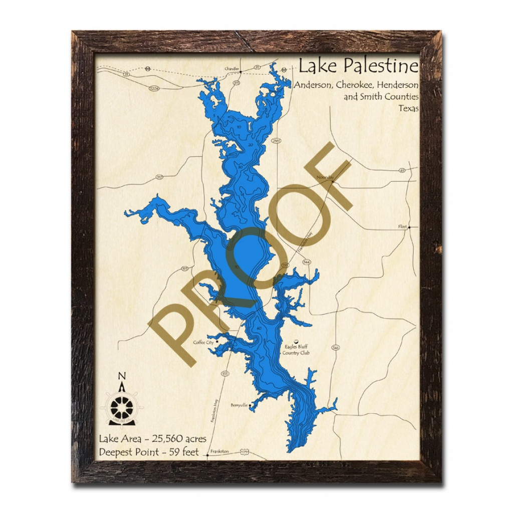 Lake Palestine, Texas 3D Wooden Map | Framed Topographic Wood Chart - Palestine Texas Map