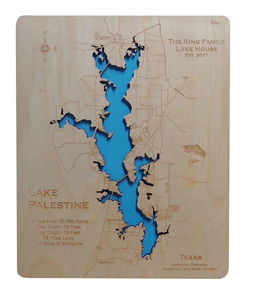 Lake Palestine, Texas - Wood Laser Cut Map In 2019 | Lake Palestine - Palestine Texas Map