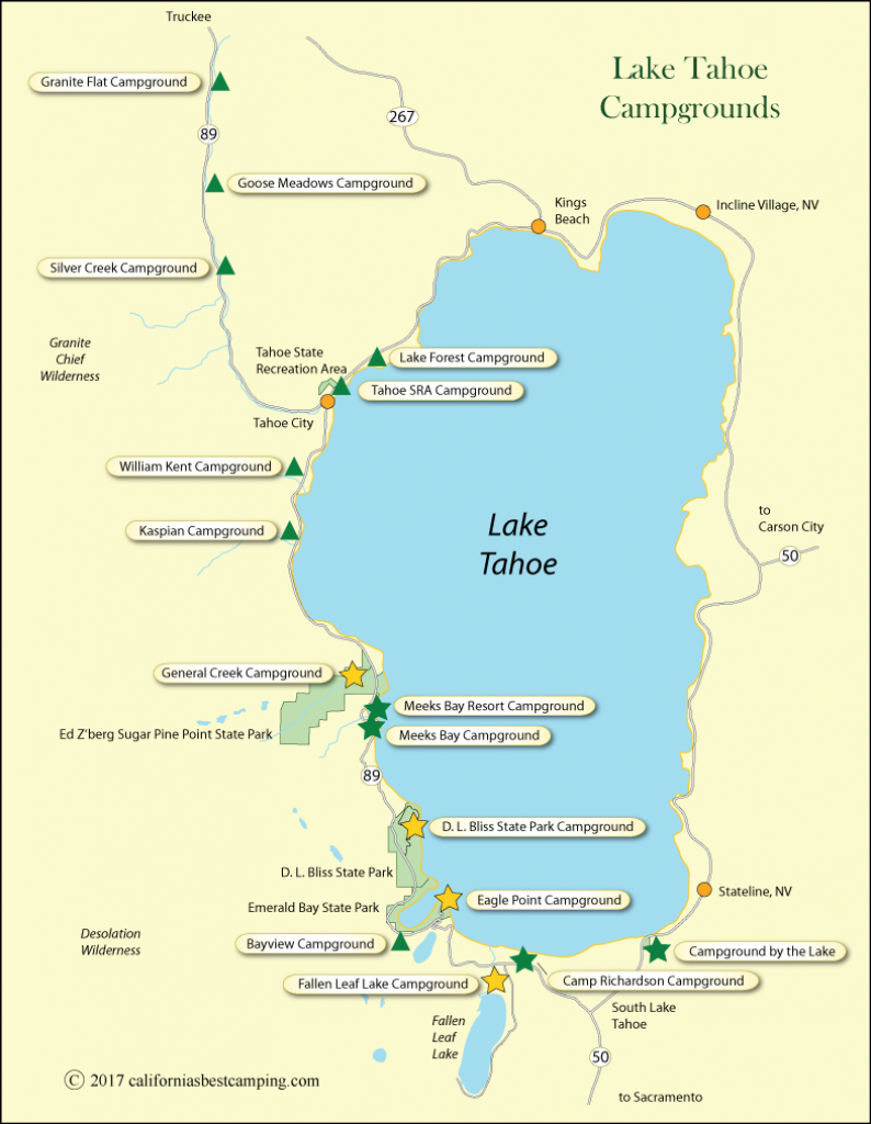 Lake Tahoe Campground Map - California - California State Campgrounds Map