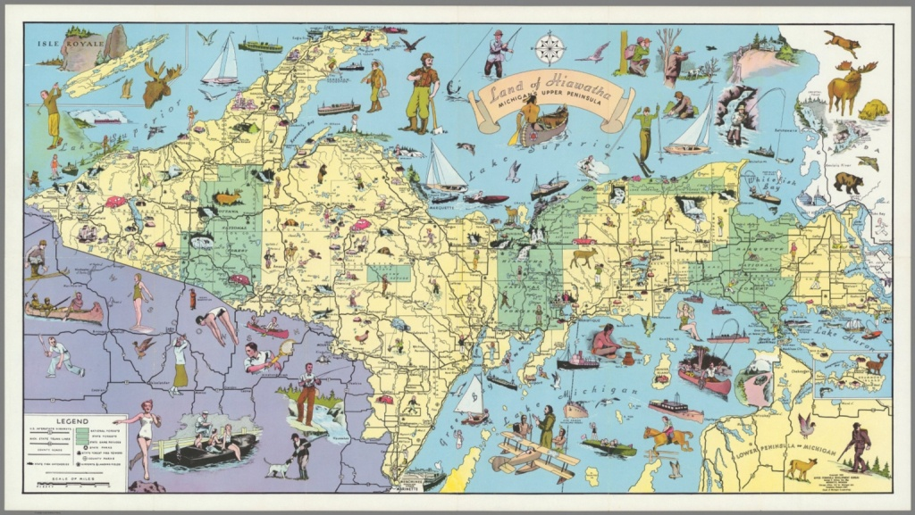Land Of Hiawatha, Michigan's Upper Peninsula - David Rumsey - Printable Map Of Upper Peninsula Michigan