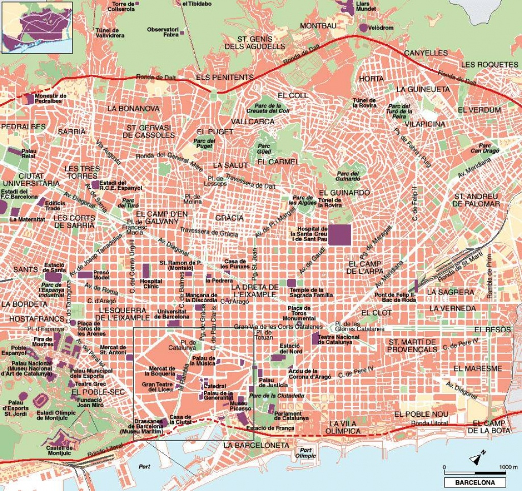Large Barcelona Maps For Free Download And Print | High-Resolution - Barcelona Street Map Printable