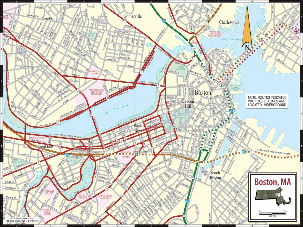 Large Boston Maps For Free Download And Print   High-Resolution And - Printable Map Of Boston